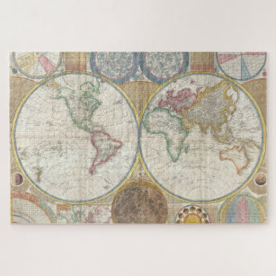 Old Antique Vintage General Map of the World Jigsaw Puzzle