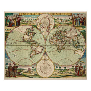 Old Antique Vintage General Map of the World Poster