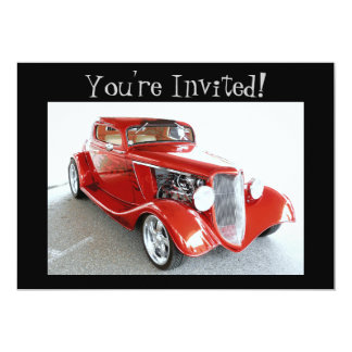 Old Antique Vintage Red Car You're Invited! 13 Cm X 18 Cm Invitation Card