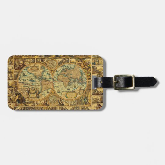 Old Antique Vintage World map illustrated Luggage Tag
