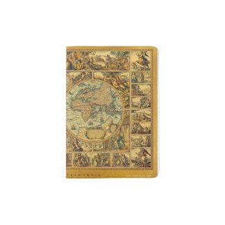 Old Antique Vintage World map illustrated Passport Holder