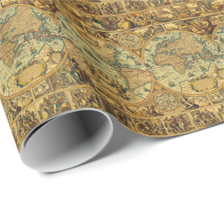 Old Antique Vintage World map illustrated Wrapping Paper