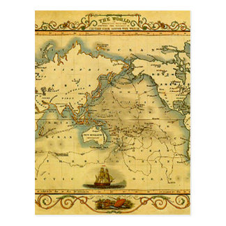 Old Antique World Map Postcard