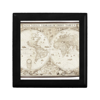 Old, Antique World Map Small Square Gift Box