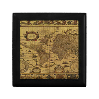 Old Antique World Map Small Square Gift Box