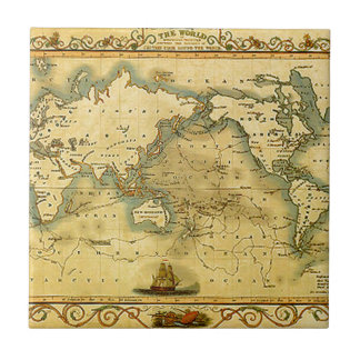 Old Antique World Map Small Square Tile