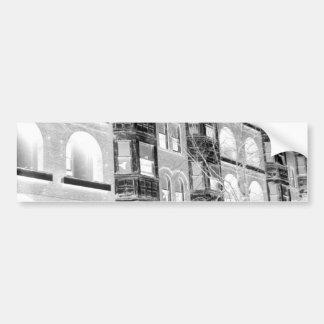Old Apartment Buildings B/W negative Bumper Sticker