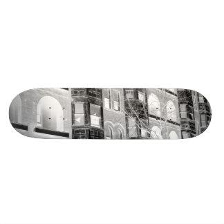 Old Apartment Buildings B W negative Skateboard Deck
