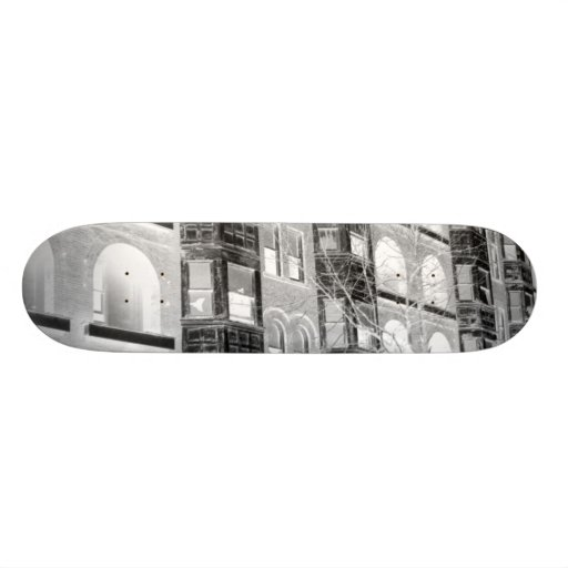 Old Apartment Buildings B/W negative Skateboard Deck