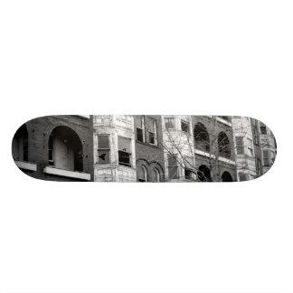 Old Apartment Buildings B W Skateboard