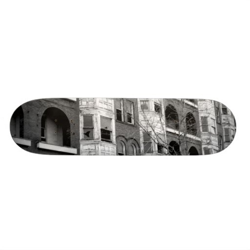 Old Apartment Buildings B/W Skateboard