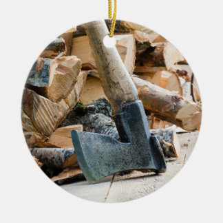 Old axe and firewood christmas ornament
