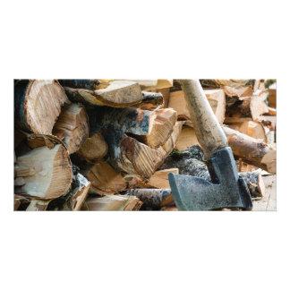 Old axe and firewood custom photo card