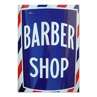 old barber shop sign card