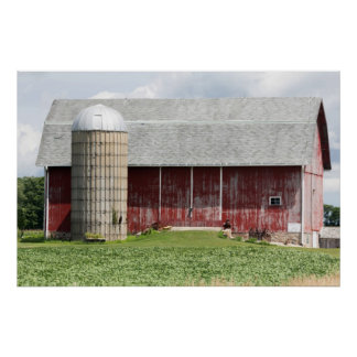 Old Barn And A Silo With A Green Field Poster