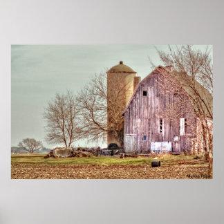 Old Barn and Silo Print