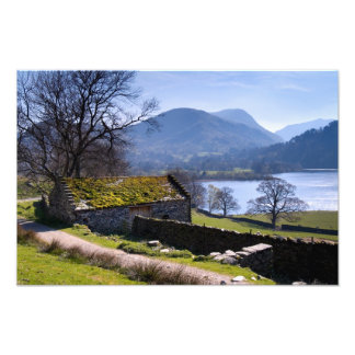 Old barn and Ullswater - The Lake District Photo Print