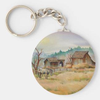 OLD BARN & APPALOOSA by SHARON SHARPE Basic Round Button Key Ring