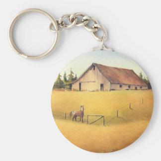 OLD BARN, APPALOOSA by SHARON SHARPE Basic Round Button Key Ring