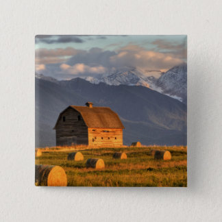 Old barn framed by hay bales and dramatic 15 cm square badge