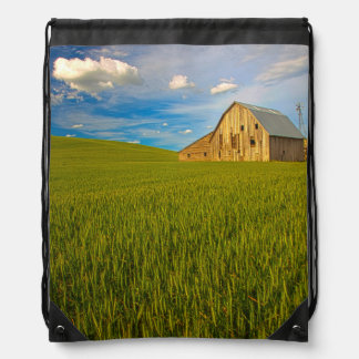 Old Barn in Field of Spring Wheat 2 Drawstring Bag