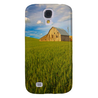 Old Barn in Field of Spring Wheat 2 Galaxy S4 Case
