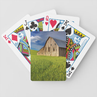 Old Barn in Field of Spring Wheat Bicycle Playing Cards
