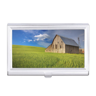 Old Barn in Field of Spring Wheat Business Card Holder