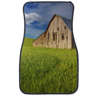 Old Barn in Field of Spring Wheat Car Mat