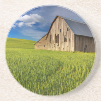 Old Barn in Field of Spring Wheat Coaster