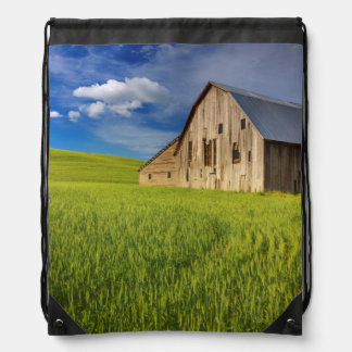 Old Barn in Field of Spring Wheat Drawstring Bag