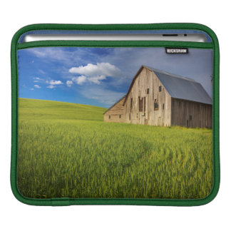 Old Barn in Field of Spring Wheat iPad Sleeve