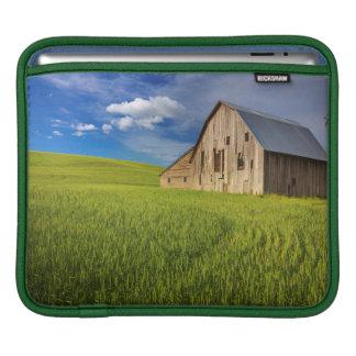 Old Barn in Field of Spring Wheat iPad Sleeves