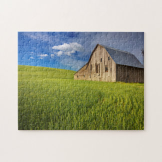 Old Barn in Field of Spring Wheat Jigsaw Puzzle