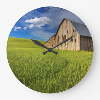Old Barn in Field of Spring Wheat Large Clock