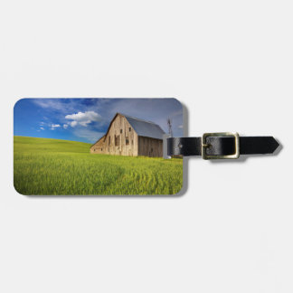 Old Barn in Field of Spring Wheat Luggage Tag