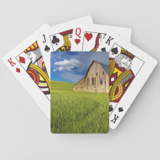 Old Barn in Field of Spring Wheat Playing Cards