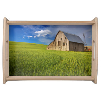 Old Barn in Field of Spring Wheat Serving Tray