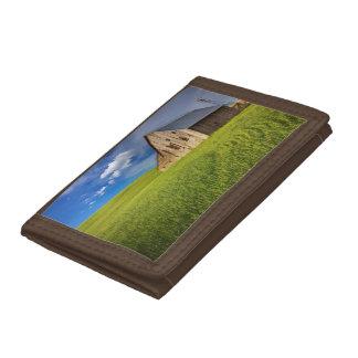 Old Barn in Field of Spring Wheat Tri-fold Wallet
