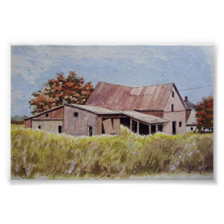 Old barn in the tall field- poster