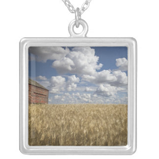 Old Barn in Wheat Field 2 Silver Plated Necklace