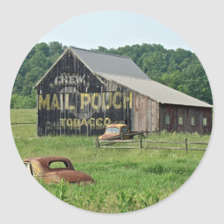 Old Barn Mail Pouch Tobacco Advertising Round Sticker