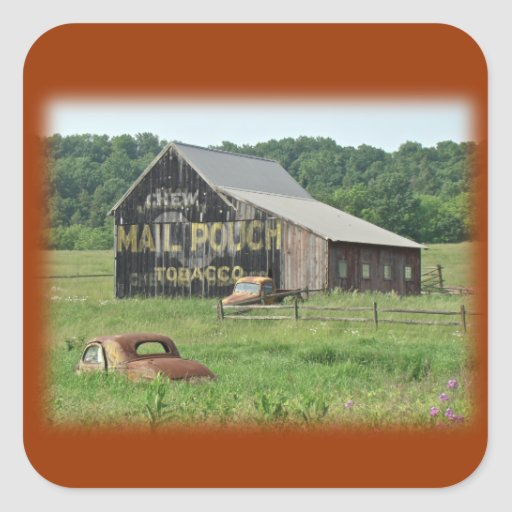 Old Barn Mail Pouch Tobacco Advertising Square Sticker