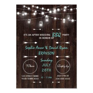 Old Barn Mason Jars Lights After Wedding BBQ Party Card