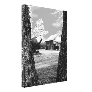 Old Barn Rural Barns Country Black & White Photo Canvas Print