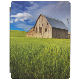 Old Barn Surrounded by Spring Wheat Field 1 iPad Cover
