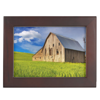 Old Barn Surrounded by Spring Wheat Field 1 Keepsake Box