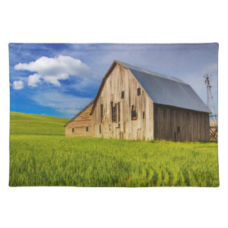 Old Barn Surrounded by Spring Wheat Field 1 Placemat