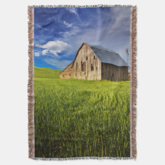 Old Barn Surrounded by Spring Wheat Field 1 Throw Blanket