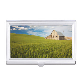 Old Barn Surrounded by Spring Wheat Field 2 Business Card Holder